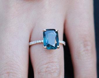 Peacock sapphire engagement ring. 3ct emerald cut blue green sapphire ring diamond ring 14k Rose gold ring by Eidelprecious.