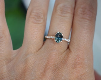 Blue Green sapphire engagement ring. Peacock sapphire 3ct oval sapphire diamond  ring 14k Rose gold ring by Eidelprecious