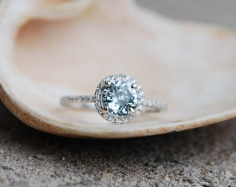 2ct Mint blue green round sapphire diamond ring 14k white gold engagement ring