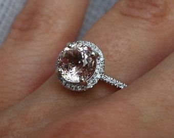 2ct round Peach sapphire Champagne sapphire ring diamond ring 14k white gold Engagement ring