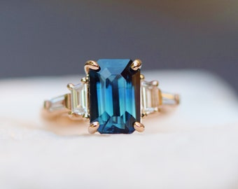 Banff Ice Sapphire Engagement Ring. Rose Gold diamond ring. Emerald cut. Radiant cut. Tapered diamond ring Ice collection by Eidelprecious