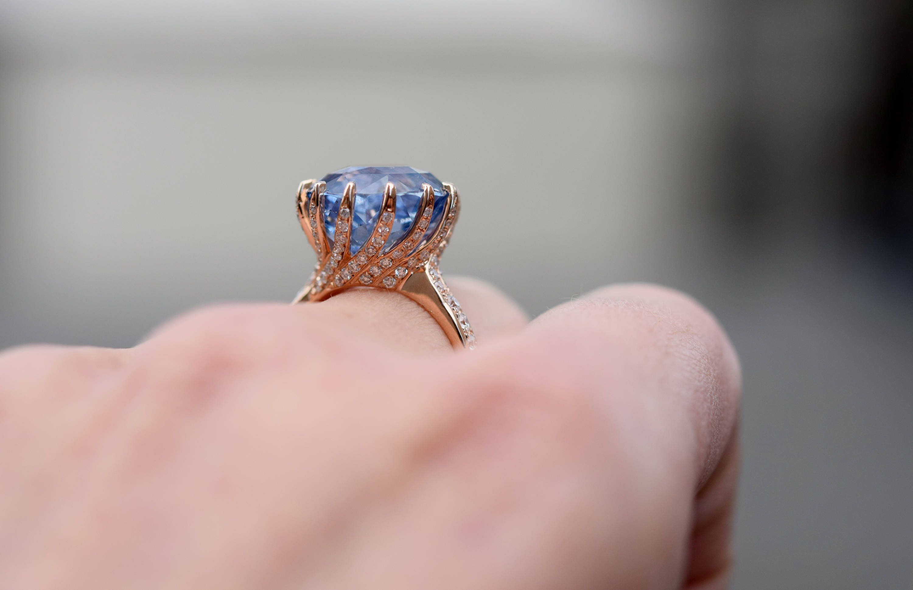 One of a kind Engagement Ring. GIA certified Blue Sapphire Ring. 18k ...