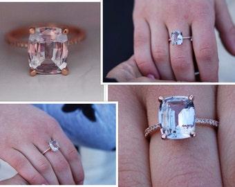 Cushion engagement ring. Color change Engagement Ring cushion 14k rose gold diamond ring 3.21ct lavender peach sapphire ring Eidelprecious