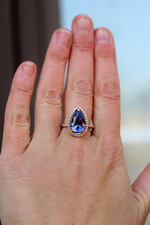 Tanzanite Ring. Rose Gold Engagement Ring Lavender Tanzanite pear ...