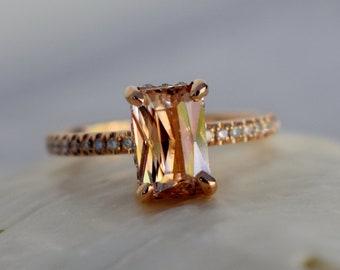 Peach sapphire engagement ring. 1.7ct Emerald radiant cut sapphire 14k rose gold diamond ring. Blake engagement ring by Eidelprecious