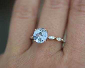 Engagement ring. Rose Gold Engagement Ring. Blue Sapphire engagement ring. Godivah design Blue Sapphire round Engagement ring Eidelprecious