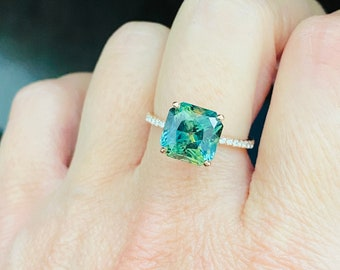 5ct Parti sapphire engagement ring. Turquoise green sapphire 5ct radiant sapphire diamond ring 14k Rose gold ring by  Eidelprecious.