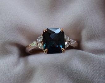 Blue Green sapphire engagement ring. Peacock green sapphire 3.45ct cushion ring 14k Rose gold. Trillium Engagement ring by  Eidelprecious.