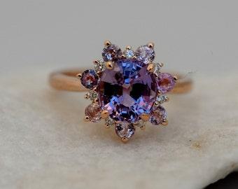 Lavender Snowflake ring Sapphire engagement ring Round Purple sapphire ring Diamond ring Rose gold ring engagement ring by Eidelprecious