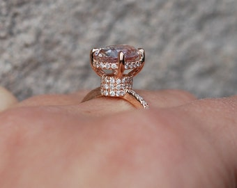 Unique Engagement ring diamond ring 2.72ct  Peach oval sapphire ring. Engagement ring by Eidelprecious