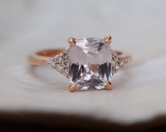 Ice peach sapphire engagement ring. 3.2ct radiant cut light peach sapphire ring diamond ring rose gold ring Martini by Eidelprecious.