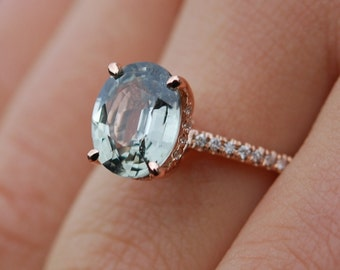 Green sapphire engagement ring. Blake Lively Sapphire Engagement Ring 14k Rose Gold 2.5ct Jasmine Oval Sapphire Ring