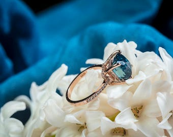 Engagement ring Teal sapphire ring Peacock Blue Green sapphire ring 5ct Blue Green Sapphire cushion engagement ring 14k rose gold ring