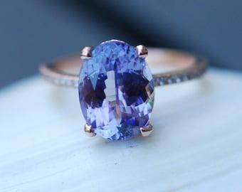 Tanzanite Ring. Rose Gold Engagement Ring 1.5ct Lavender Lilac Tanzanite oval cut engagement ring 14k rose gold.