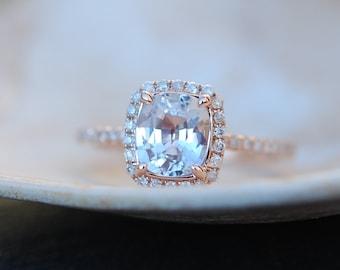 White sapphire engagement ring 14k rose gold diamond ring 2.1ct cushion sapphire ring by Eidelprecious