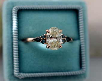 New 2021! Champagne diamond engagement ring. 1.2ct Oval Diamond ring Champagne Rose gold ring. Campari engagement ring by Eidelprecious