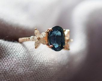 Fiji engagement ring by Eidelprecious. Oval Teal sapphire diamond ring. Fiji design. 14k rose gold ring. Engagement ring by Eidelprecious