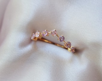 Rose Gold Wedding Band. Universal Matching Band. Peach sapphire wedding band. Diamond band by EidelPrecious. Anniversary ring.