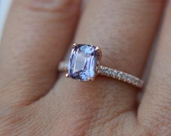 Lavender sapphire ring Engagement ring 14k rose gold diamond ring 2.5ct emerald cut lavender blue sapphire ring Blake ring by Eidelprecious