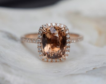 Mahogany sapphire engagement ring. 14k rose gold diamond engagement ring. 2.8ct Cushion brown sapphire. Engagement ring by Eidelprecious