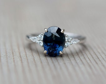 Navy sapphire engagement ring. Peacock blue green sapphire 4ct oval diamond ring 14k White gold. Campari Engagement ring by  Eidelprecious.