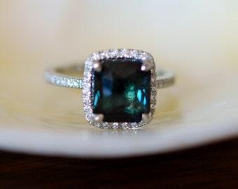 Peacock Blue Sapphire ring. White Gold Engagement ring.  3.8ct cushion sapphire diamond ring. Engagement rings by Eidelprecious.
