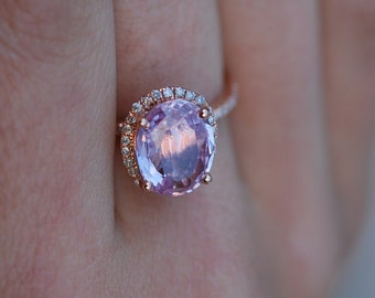 Oval engagement ring with peach sapphire rose gold engagement ring 14k diamond 2.94ct Oval raspberry peach champagne sapphire