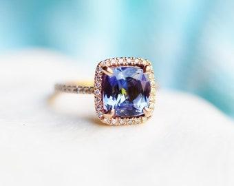 Tanzanite engagement Ring. Rose Gold Engagement Ring Violet Blue Tanzanite cushion cut halo engagement ring 14k rose gold ring