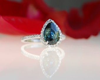3ct pear Peacock green blue color change sapphire diamond ring Platinum 900 engagement ring by Eidelprecious