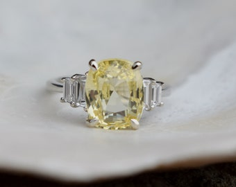 Lemon Ice Sapphire Engagement Ring. Yellow sapphire ring. White gold diamond ring. Cushion cut. Tapered diamond ring by Eidelprecious