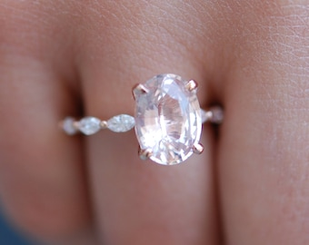Rose Gold Engagement Ring. Peach sapphire engagement ring. Godivah ring. One of a kind ring Sapphire Oval Engagement ring
