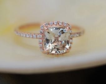 Jasmine sapphire engagement ring 2.5ct Square Cushion Jasmine Champagne sapphire 14k rose gold diamond ring engagement ring by Eidelprecious