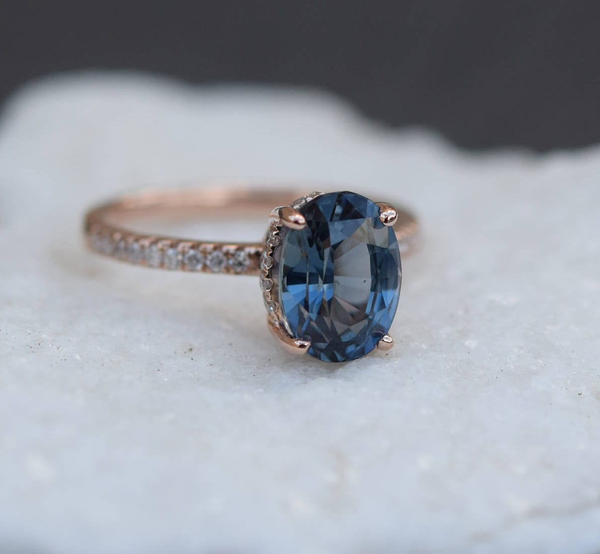 Teal Sapphire Engagement Ring Peacock Green Blue Sapphire
