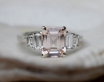 Peach Ices. Engagement Ring White gold engagement ring Peach Sapphire ring Ice White gold diamond ring 2.1ct sapphire ring by Eidelprecious
