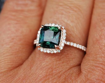 Peacock sapphire engagement ring. 3.6ct square cushion cut blue green sapphire ring diamond ring 14k Rose gold ring by Eidelprecious