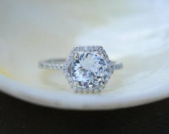 Hexagon Engagement Ring. White Sapphire Ring. 14k White Gold 3ct Round sapphire engagement ring by Eidelpresious