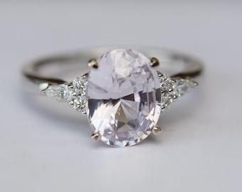 Platinim upgrade - Lavender sapphire ring Engagement ring diamond ring oval light lavender sapphire ring Campari design by Eidelprecious
