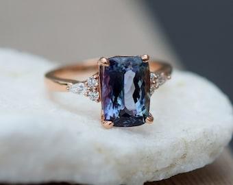 Teal tanzanite engagement ring. Peacock blue tanzanite 3.5ct cushion diamond ring 14k rose gold. Campari Engagement ring by Eidelprecious.