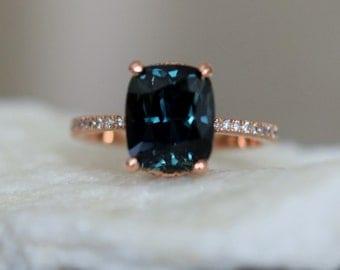 Teal sapphire ring. Peacock blue green sapphire ring 5ct cushion sapphire diamond  ring 14k Rose gold.