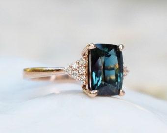 Peacock sapphire engagement ring. 3.15ct emerald cut blue green sapphire ring diamond ring  Martini by Eidelprecious.