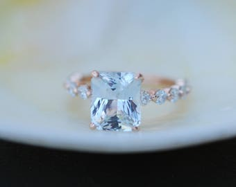 Blake Lively ring Rose Gold Engagement Ring White sapphire engagement ring One of a kind ring Sapphire Emerald ring