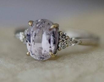 Lavender peach sapphire ring Engagement ring 14k white gold diamond ring 2.6ct oval pink lavender sapphire ring Campari by Eidelprecious