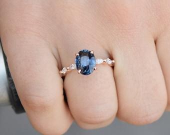 London Blue sapphire engagement ring. Peacock blue sapphire 3ct oval diamond  ring 14k Rose gold ring Godivah ring by Eidelprecious