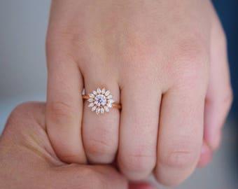 Flower engagement ring. Rose gold engagement ring 0.5ct Diamond ring 14k rose gold diamond ring by Eidelprecious