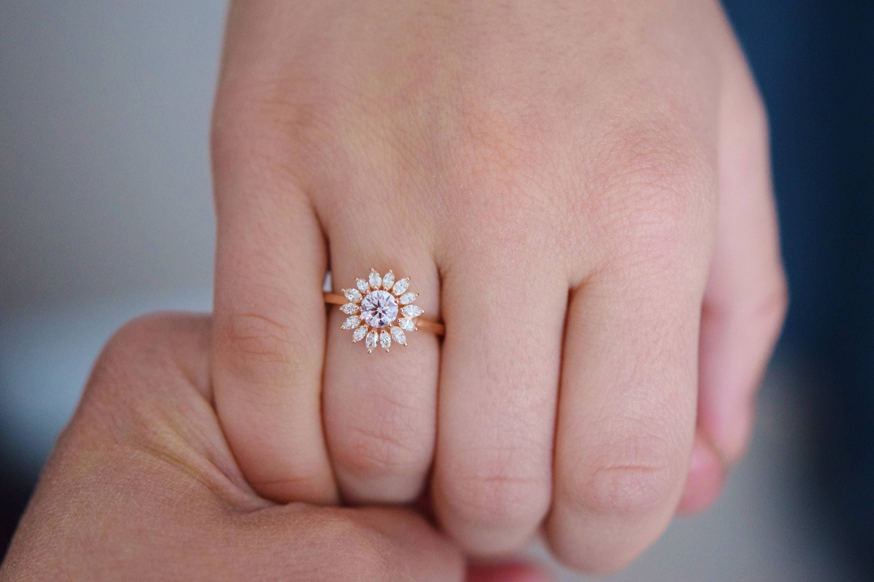 Flower engagement ring. Rose gold engagement ring 0.5ct Light pink ...