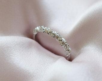 Diamond band Twisted diamond wedding band White gold band Half Eternity band 14k gold Band Matching Band by Eidelprecious