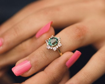 Green Snowflake ring Sapphire engagement ring Round Green sapphire ring Diamond ring Yellow gold ring engagement ring by Eidelprecious