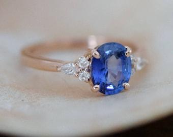 Rose gold sapphire ring. Oval blue sapphire ring. 2.3ct cornflower blue sapphire diamond ring 14k rose gold engagement ring by Eidelprecious