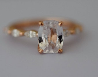 White sapphire engagement ring. Rose Gold Engagement Ring. Godivah ring. One of a kind ring Sapphire Cushion Engagement ring Eidelprecious