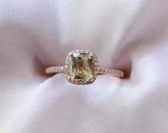 Olive green sapphire engagement ring. 1.3ct square cushion cut sapphire ring diamond ring 14k Rose gold ring by Eidelprecious